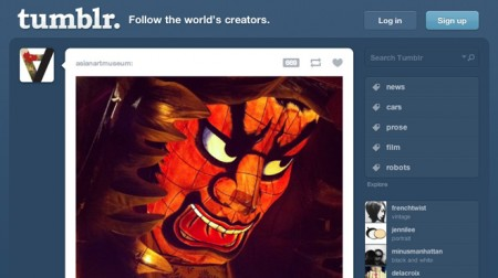 The home page for the Tumblr website.